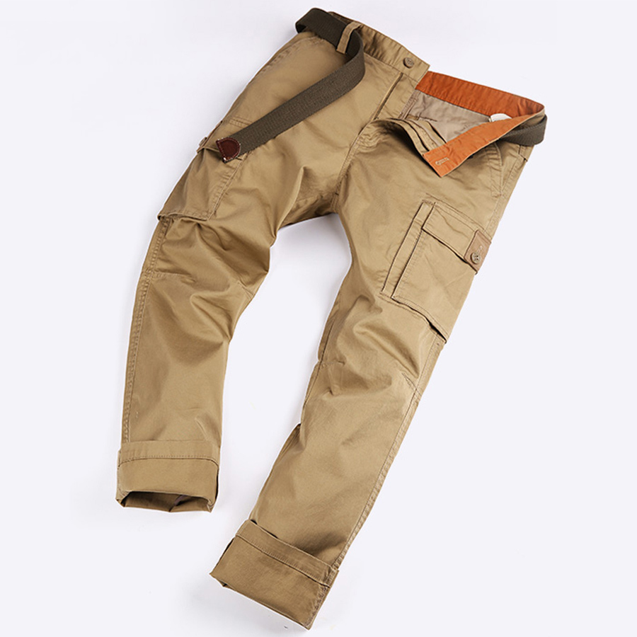 Mens Thin 100% Cotton Pants Casual Jogger Multi-pocket Overalls Plus Size 30-44 Straight Cargo Trousers (No Belt) E462