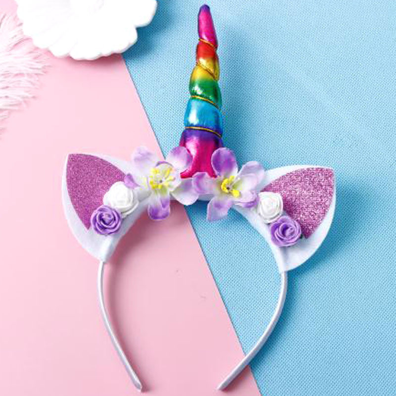 Cute Unicorn  Girls Flower Cat Ears Headbands Children Headwear Photo Props Party Hair Hoop Hairbands Kids Hair Accessories
