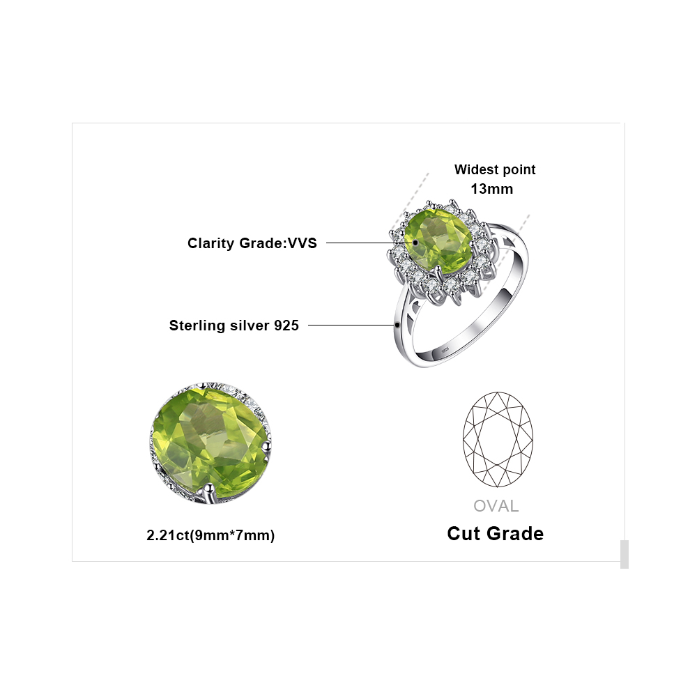 Image 5 - JewPalace Princess Diana Genuine Peridot Ring 925 Sterling Silver