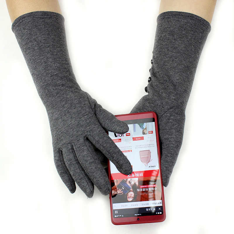 Long Gloves Women's Stretch Cotton Touch Screen Knit Gloves Plus Velvet Thick Arm Sleeves To Keep Warm In Autumn