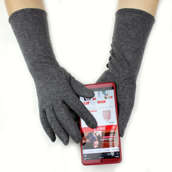 Long gloves women's stretch cotton touch screen knit plus velvet thick arm sleeves to keep warm in autumn - sale item Gloves & Mittens