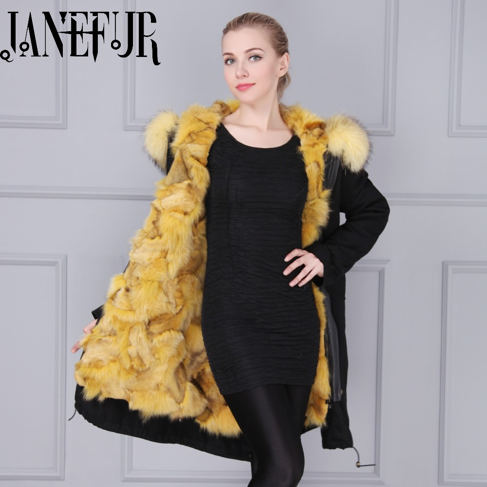 Black Shell Parka Raccoon Fur Collar Hood Winter Coats Ladies Long Sleeve Fox Fur Lined Hooded Plus Size Outerwear Parkas
