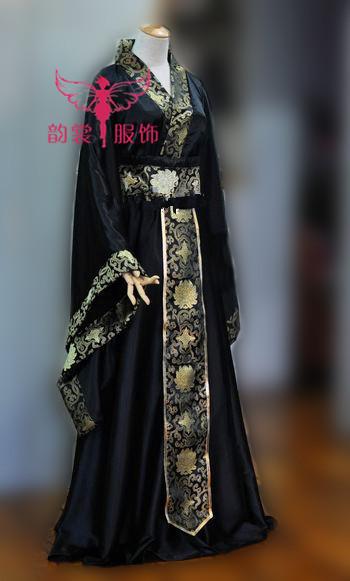 Negro tejido de raso con borde para hombre Cosplay del traje Hanfu fotografía traje para hombre de la manga ancha
