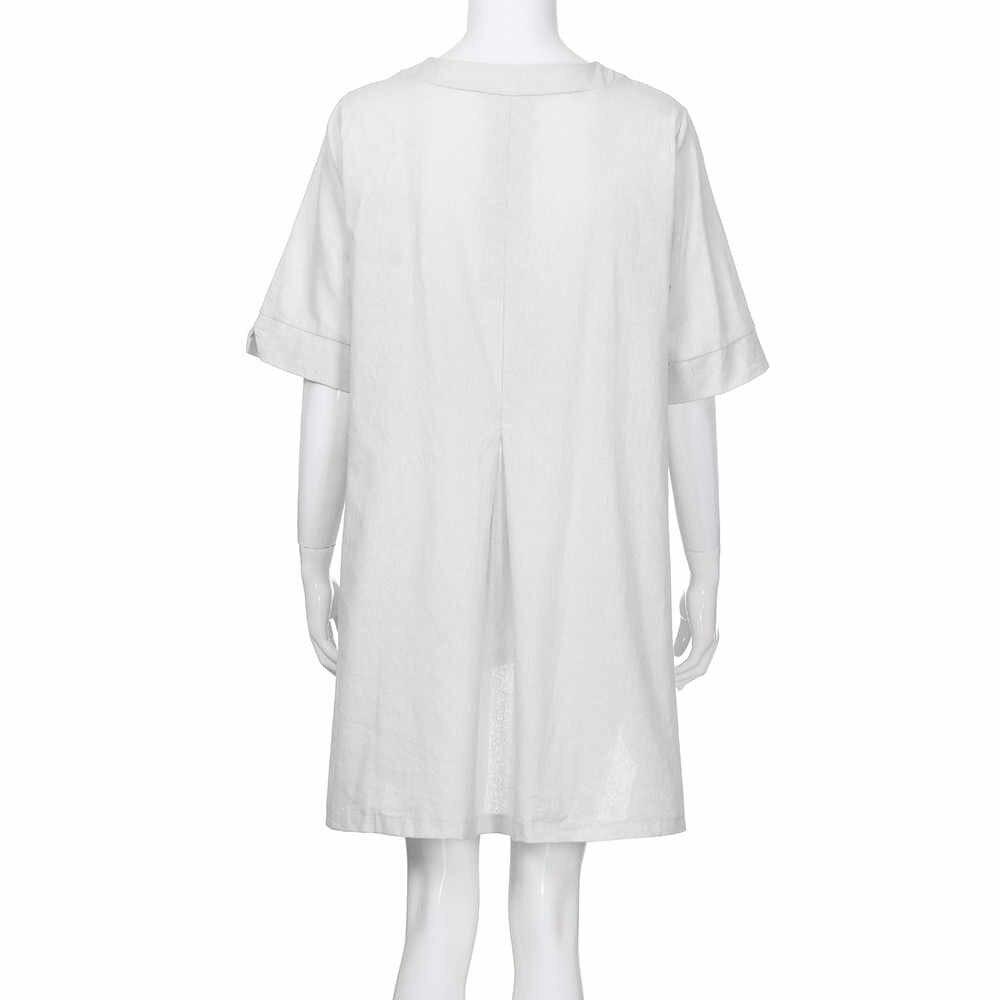 Женские футболки с круглым вырезом 2019 ZANZEA Летняя туника с коротким рукавом топы винтажная льняная блузка женская рубашка на пуговицах плюс размер Blusas