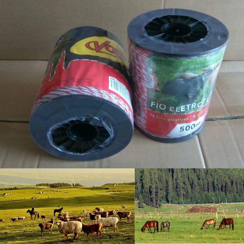 Clôture électrique Poly fil Ultra faible résistance chaude Poly corde 2mm rouge blanc Polywire avec de l'acier pour la clôture de mouton de cheval