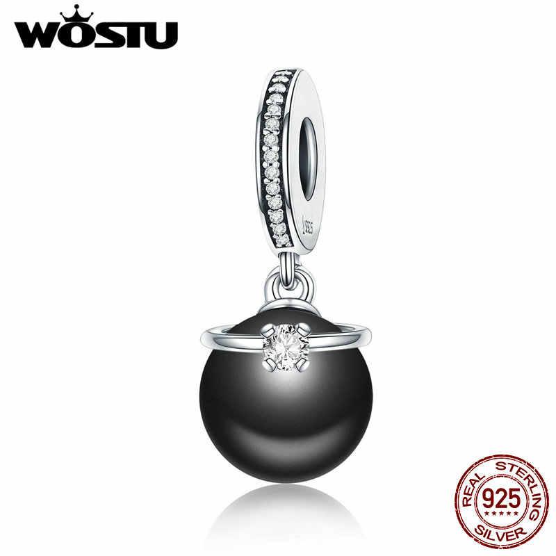 Wostu venda quente 925 prata esterlina & pérola preta com cz anel balançar charme ajuste original wst contas pulseira jóias dxc572