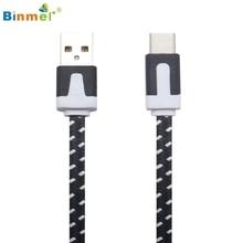 Binmer Горячий Продавать Подлинная Плетеный Нейлоновый USB 3.1 Type-C Зарядное Синхронизации Данных Зарядный Кабель 2 M Подарок 1 шт. Ноября 30