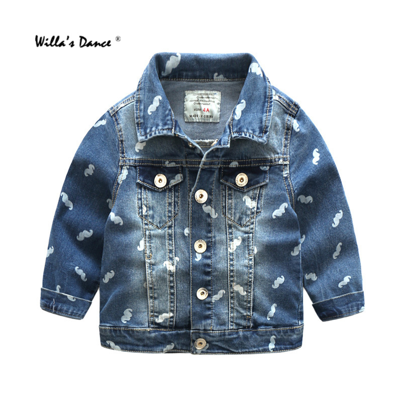 Willa S Dance Children Denim Jackets For Girls 2017 Autumn Long Sleeve Denim Blue Coats Brand