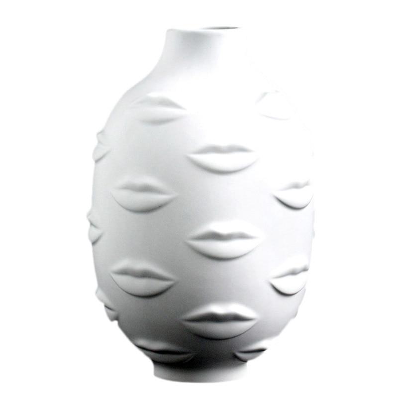 Vase Design créatif 3D Art personnes visage Vase blanc nordique en céramique petit décoratif porcelaine Pot de fleur porte-plante vase