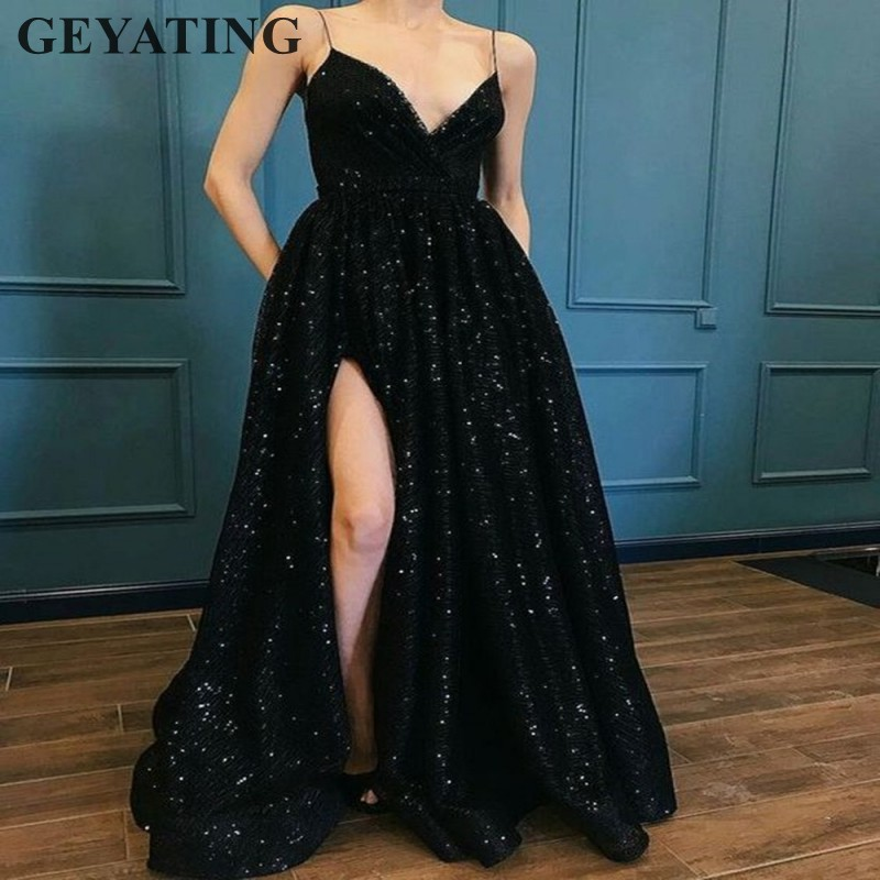 Scintillant Noir À Paillettes Longues Robes De Bal 2019 Sexy Bretelles Spaghetti V-cou Côté de Split Soirée Partie Robes Femmes Robe De Soirée