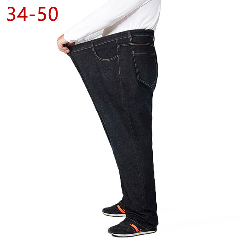 34-50 Large Size Man   Jeans   Spring Autumn High Waist Straight Trousers Male Fashion   Jeans   Classic Loose Cotton   Jeans   HLX30