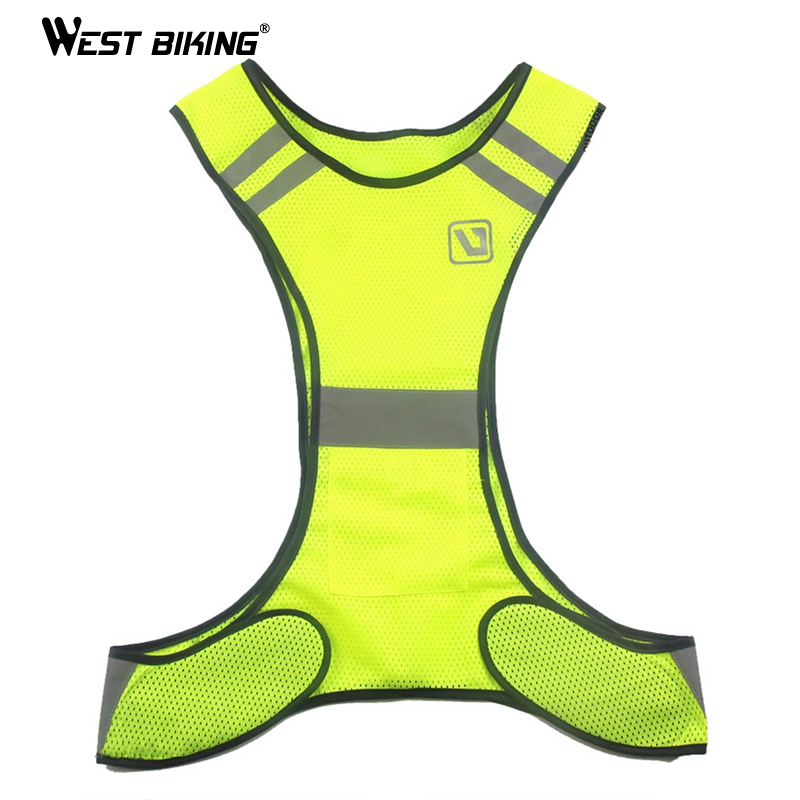 Rockbros Cycling Bike Bicycle Reflective Outdoor Vest Running Safety Jersey Sleeveless Breathable Vest Night Walking Vest Coat Camping & Hiking