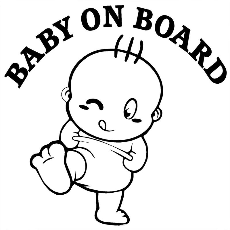 14.6CM*14.4CM Baby On Board Cute Car Stickers And Decals Motorcycle Car Styling Accessories Black Sliver C8-1022 стоимость