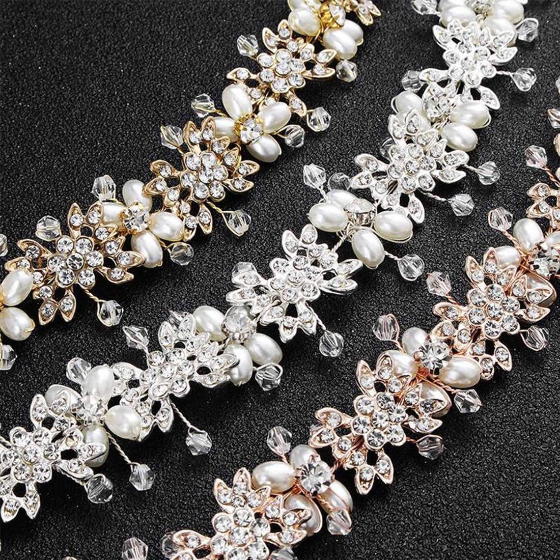 Для невесты и подружек невесты; аксессуары для волос на выпускной вечер Роза Золотое роскошное свадебное платье и повязка на голову с жемчугом волос лозы свадебные головные уборы