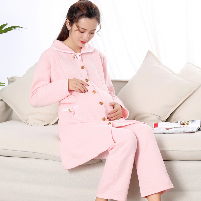 Winter Thermal Maternity Nightgown Maternity Pajamas Sweatshirt Nursing Sleepwear Pajamas For Pregnant WomenWinter Thermal Maternity Nightgown Maternity Pajamas Sweatshirt Nursing Sleepwear Pajamas For Pregnant Women