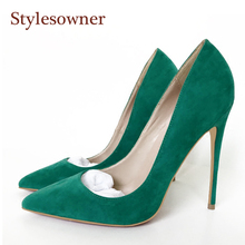 Stylesowner New Style Green Purple Flock Women High Heels Super Thin Heel Sexy Party Shoe For Woman Nightclub Shoe High Quality