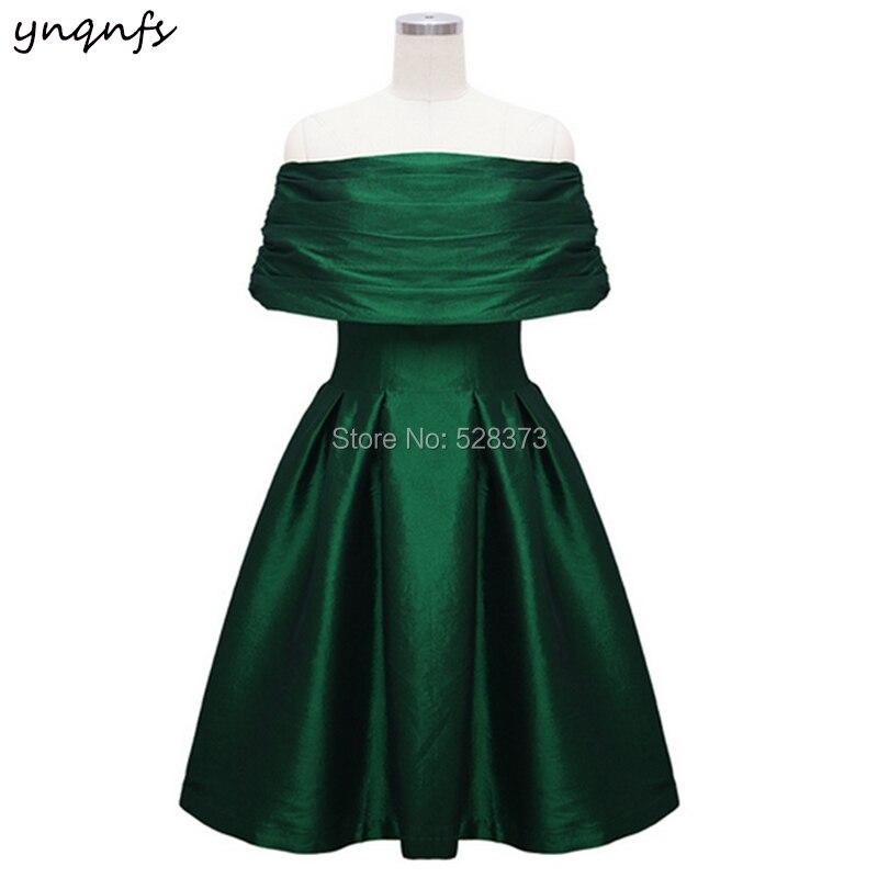 YNQNFS ED161 Elegant Taffeta Boat Off Shoulder Short Green   Dress     Bridesmaid     Dresses   2019