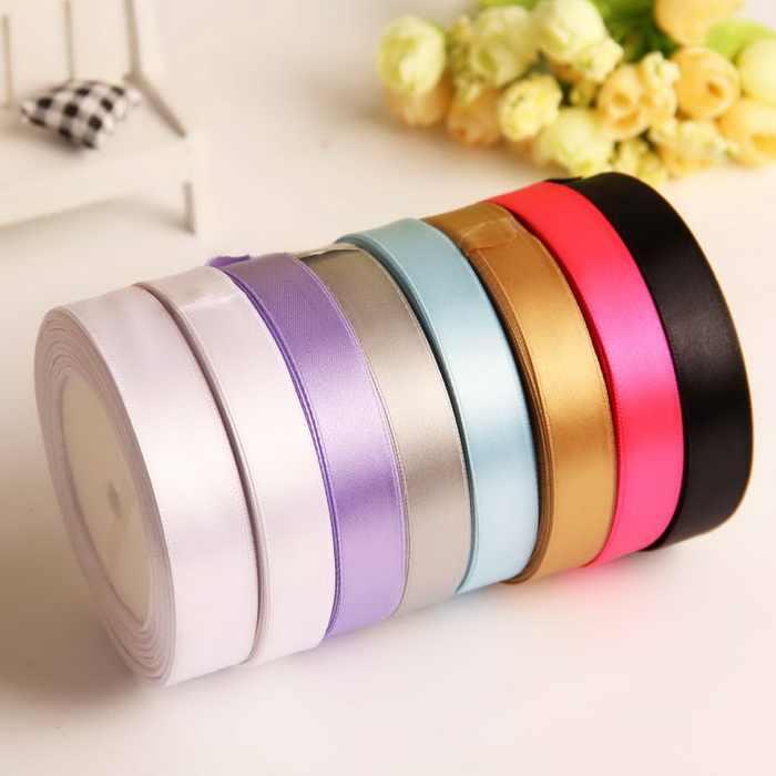 Cinta de satén de seda de envío gratis algodón 12mm 25 yardas de Organza de poliéster cinta para decoración de fiestas de boda regalo de artesanías