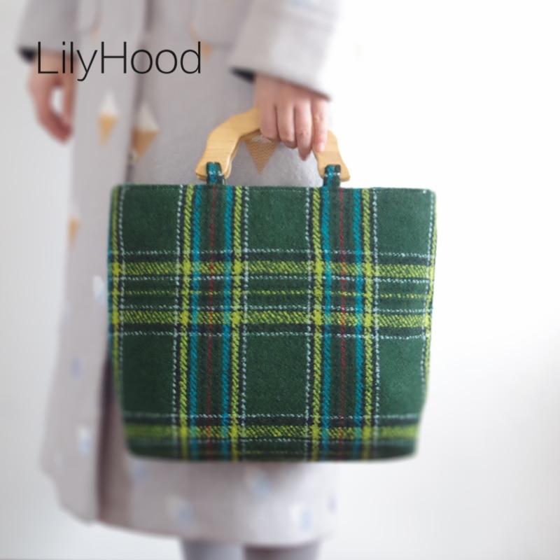 LilyHood Wool Felt Winter Tote Bag Handmade Soft Preppy Style Vintage Chic Tweed Fabric Green Plaid Book Wood Top Handle Handbag