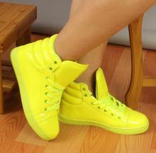 2016 New Arrival Lighted Candy Color High-top Shoes Men Women's Fashion Shoes Flat Platform Shoes Couple Shoes
