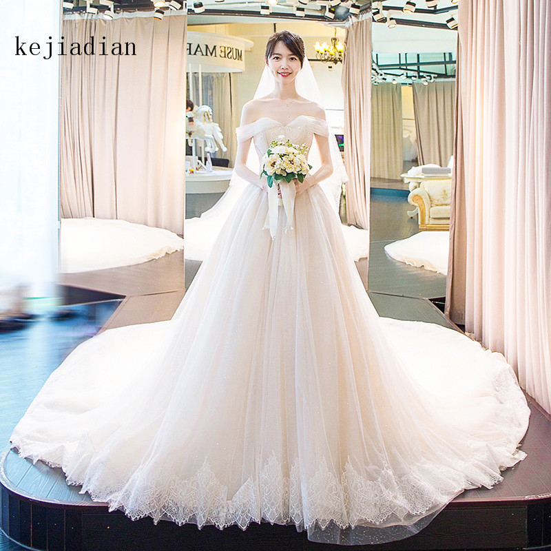 Royal trail Spring luxury  off shoulder Wedding Dress appliques Wedding party gowns lace-up Vestidos de festa Bride dresses