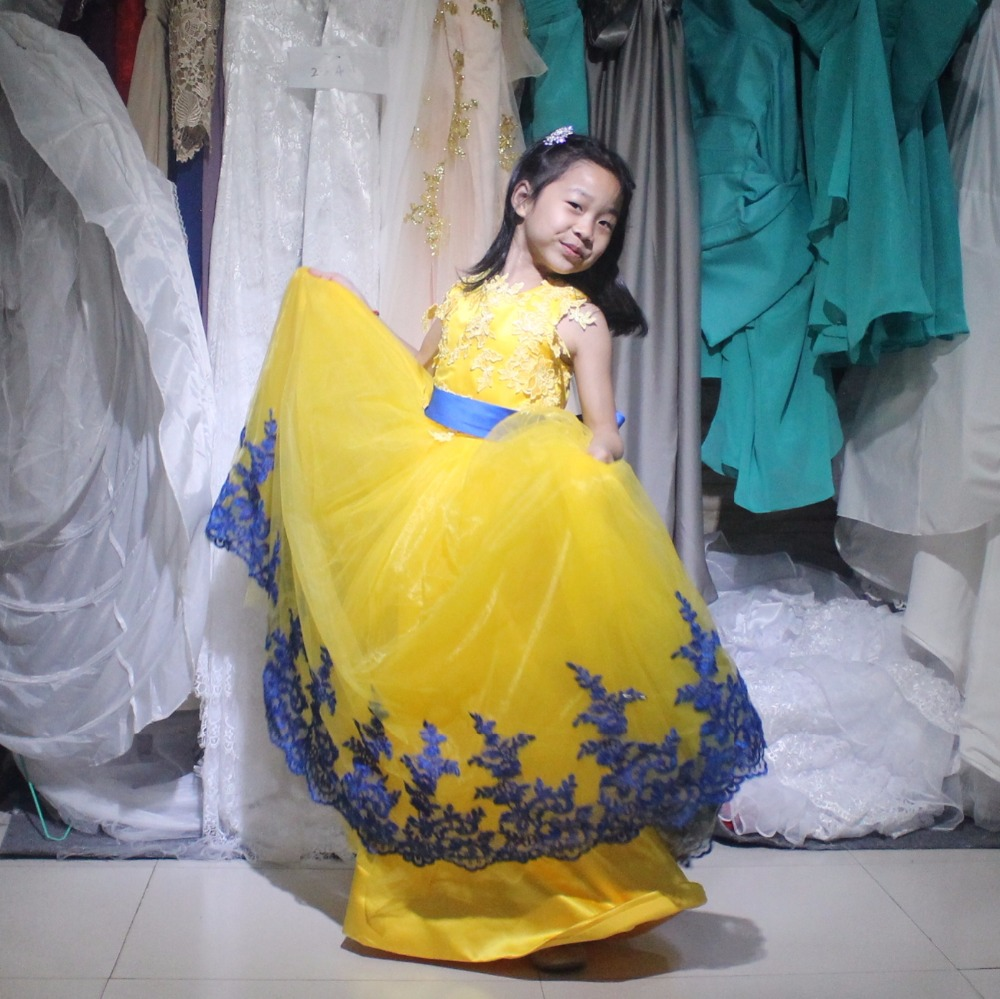 Pretty A Line Flowers Girl Dresses Yellow Blue Lace Flowers Junior