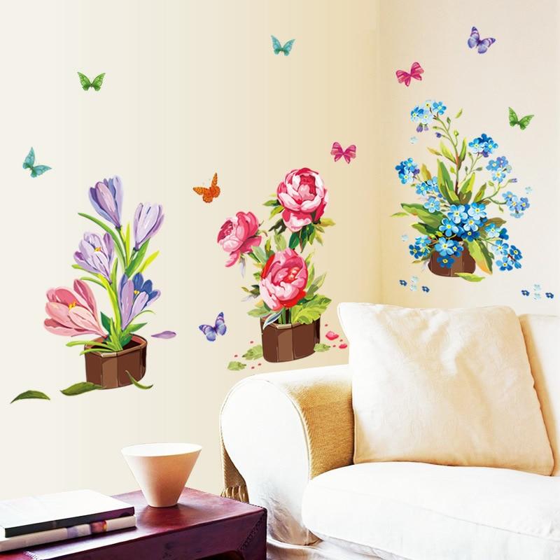 Cute Cartoon Flower Butterfly 3D Wall Stickers DIY Decal Window Glass Wall Decor Home Decoration Kids Children Room Decoration