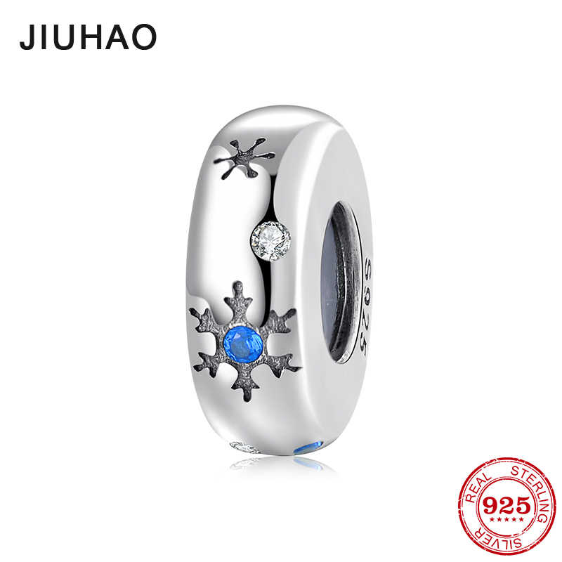 Natal do floco de neve Bonito 925 Sterling Silver Stopper CZ Spacer Beads Fit Pandora Original Charm Bracelet Jóias fazendo