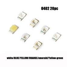 20 шт. 0402 SMD светодиодный Диод 0402 супер яркий белый красный зеленый желтый синий SMD светодиодный светильник