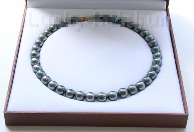 """Горячие продажи новый Стиль>>>>> AAA блеск 17 """"12 мм павлин черный круглый жемчуг ожерелье 14KGP застежка j9519"""