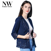 Nordic Winds Jeans Blouse Womens Tops And Blouses Plus Size 5Xl 6Xl New Floral Embroidery Blouses Denim Casual Jeans Shirt Women