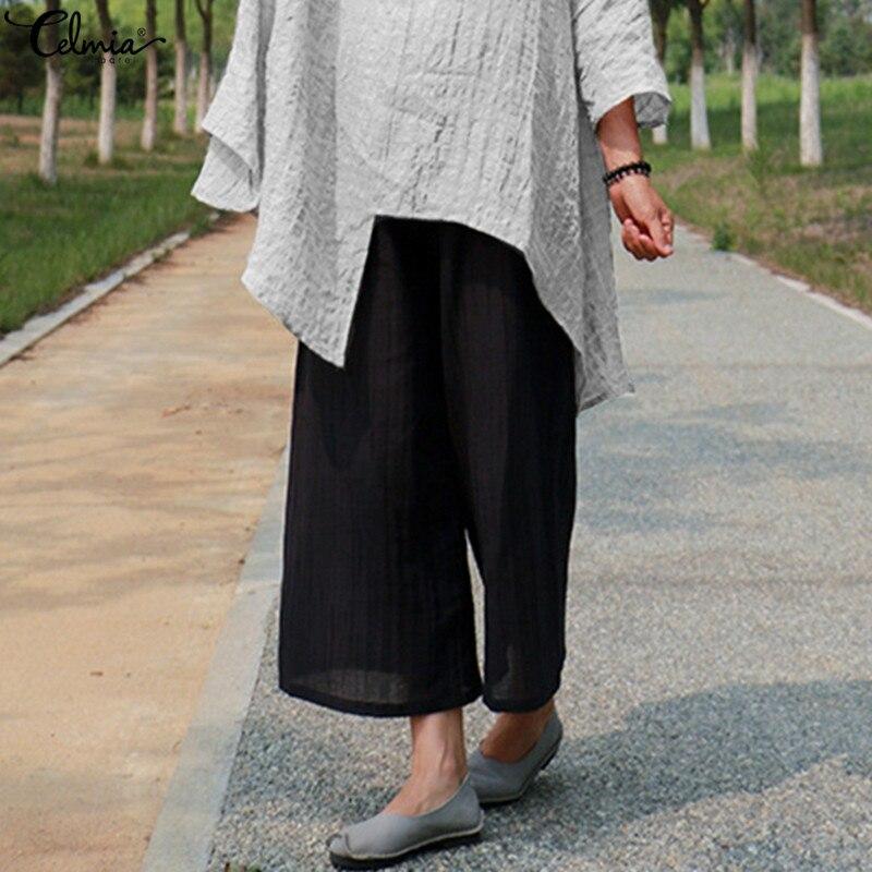 5XL Celmia Women   Wide     Leg     Pants   Casual Solid Elastic Waist Long Female Work Office Baggy Trouser Vintage   Pant   Plus Size Pantalon