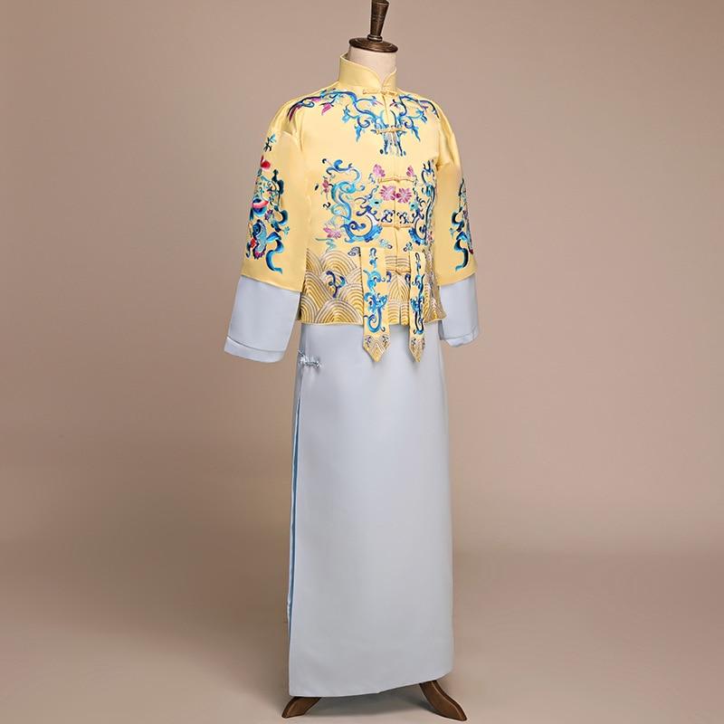 Adaptable Nieuwe Aankomst Mannelijke Cheongsam Chinese Stijl Kostuum De Bruidegom Jurk Jas Lange Jurk Traditionele Chinese Trouwjurk Mannen