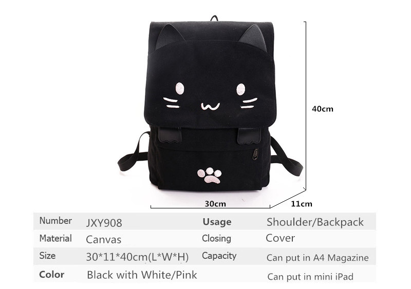 HTB1kKHwQFXXXXacapXXq6xXFXXXg - Women Cute Cat Backpack Canvas Kawaii Backpacks School Bag for Student Teenagers Lovely Rucksack Cartoon Bookbags Mochilas