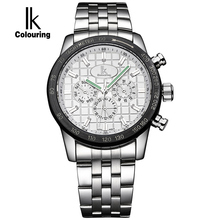 IK Colouring Nail Shape Scale Luminous Three Multifunction Sub Dials Week Date 24 Hours Automatic Self Wind Movement Men Watch
