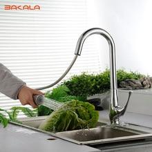 Bakala faucet high arc весна pull down кухонный кран с поворотным изливом, хром LH-8117