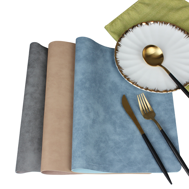 Pure Color Leather Placemats Quality Manteles Individuales
