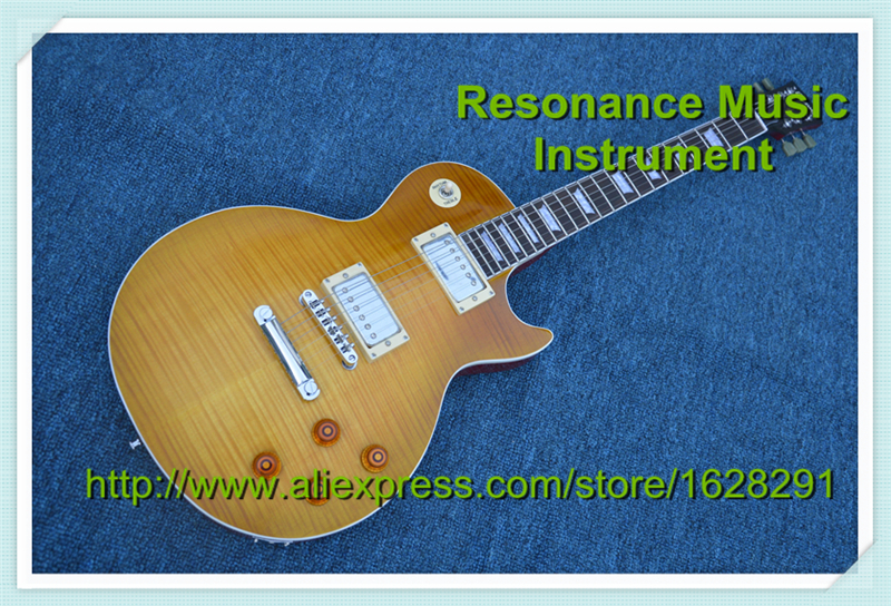 100% Real Pictures Vintage Sunburst Flame Finish Standard LP Guitar In Stock moving pictures