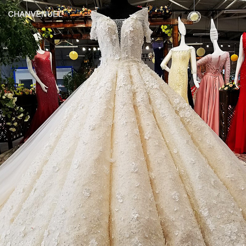 Ls01569 100 Real Pictures Show Wedding Dress With Long Train