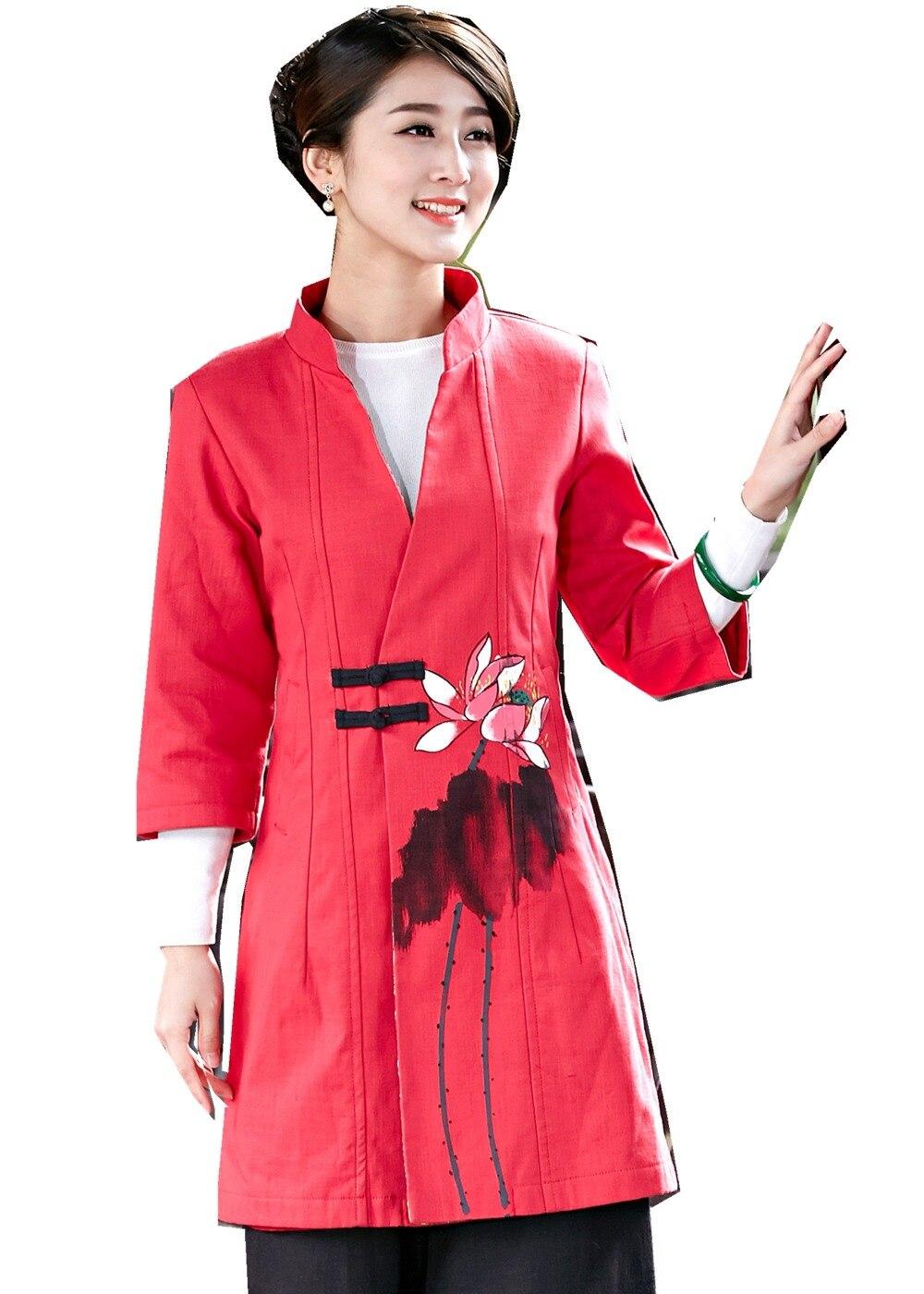 Shanghai Story nouveauté rouge femme bouton bouton chinois veste lin coton manteau classique chinois Tang vêtements pour les femmes