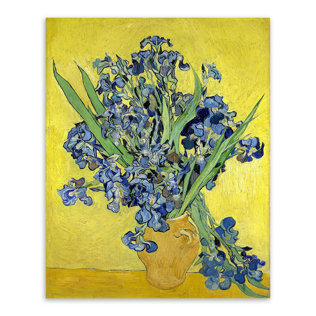 Irise Vincent Van Gogh Yellow Modern Blue Flower Poster