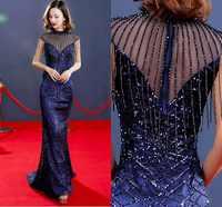 Novo Azul Marinho Lantejoulas Prom Dresses 2019 Vestidos de Alta Pescoço Trem Da Varredura Beading Vestidos de Noite A Linha de Vestido De Noiva Festa Formal vestido