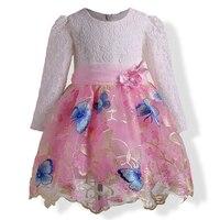 מדהים שמלות ילדה פרח לחתונות ומסיבה דפוס פרפר שרוול ארוך בגדי ילדים מתוקים נסיכת מסיבת יום הולדת
