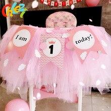 1 set Baby 1 jaar Verjaardag gekleurde vlaggen tutu netto garen Baby stoel verjaardagsfeestje decoratie IK ben 1 Vandaag banner baby shower