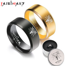 Faitheasy Stainless Steel Mens Ring Punk Titanium Steel Ring 8mm For Men Top Jewelry Charm Black/Gold Gifts Drop Shipping