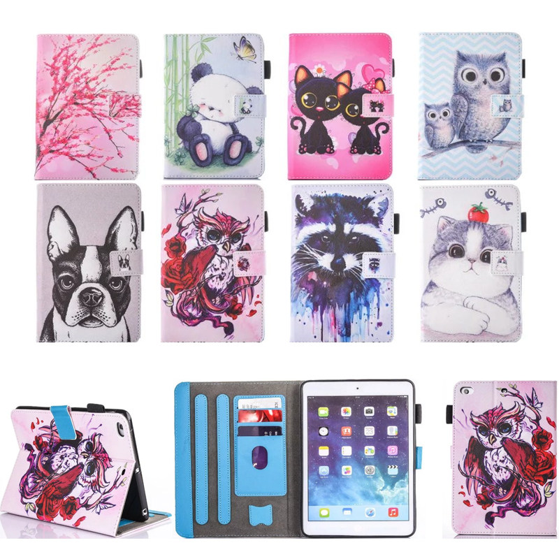 Cartoon Case For New iPad 9.7 2017 Case Smart Cover Funda Tablet Model A1822 A1823 PU Leather Flip Stand Shell For iPad 5/6 Air2 simple blue sky flip cover for ipad pro 9 7 10 5 air air2 mini 1 2 3 4 tablet case protective shell for new ipad 9 7 2017 a1822
