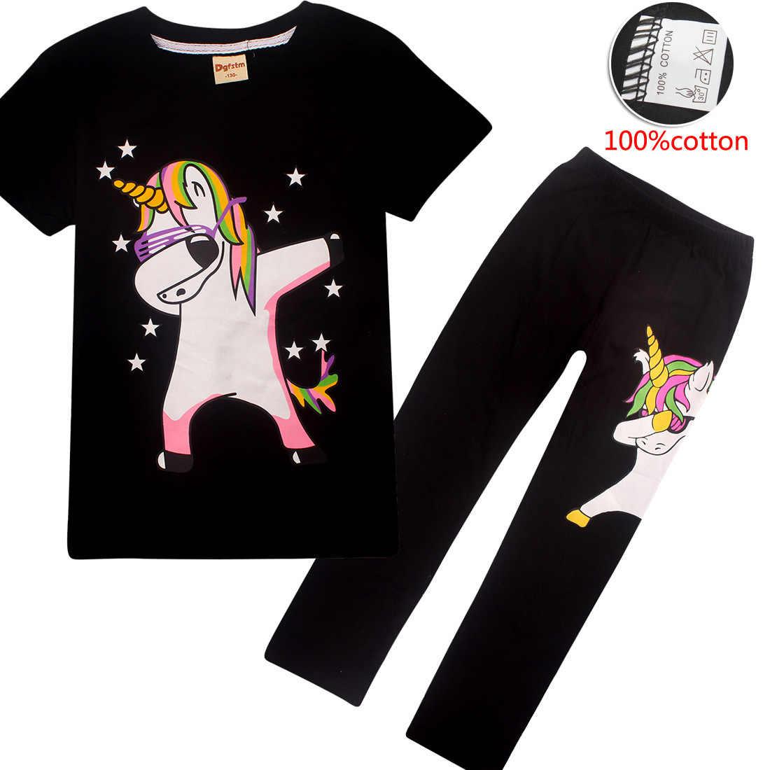 เด็กทารกสายรุ้งชุดการ์ตูน Unicorn พิมพ์เสื้อผ้าฤดูร้อนเด็กวัยหัดเดินชุดกีฬาสำหรับ 4 5 7 9 10 12 ปีเสื้อยืด + กางเกง