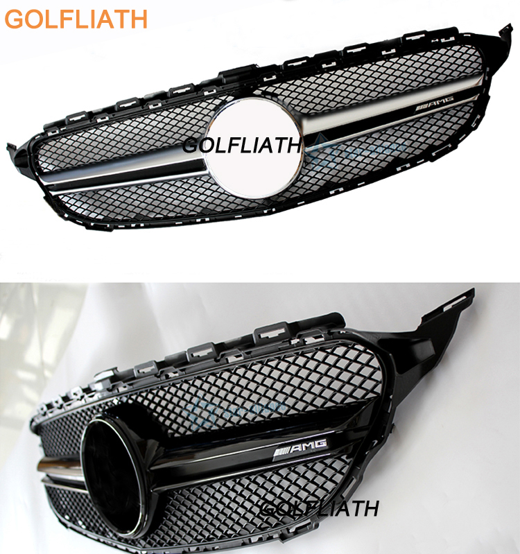 GOLFLIATH W205 Silver AMG Style Front Grill Grille With AMG Logo for Mercedes-Benz C-class W205 C180 C220 C250 C300 C350 C400 golfliath front grille center grill for 2014 2017 mercedes benz w253 x253 glc 200 glc250 glc300 sport glc450 diamond grille