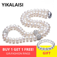 YIKALAISI 925 sterling Silver Button Natural Freshwater Pearl Chokers Necklace Jewelry For Women Crystal Ball 45cm Length(China)