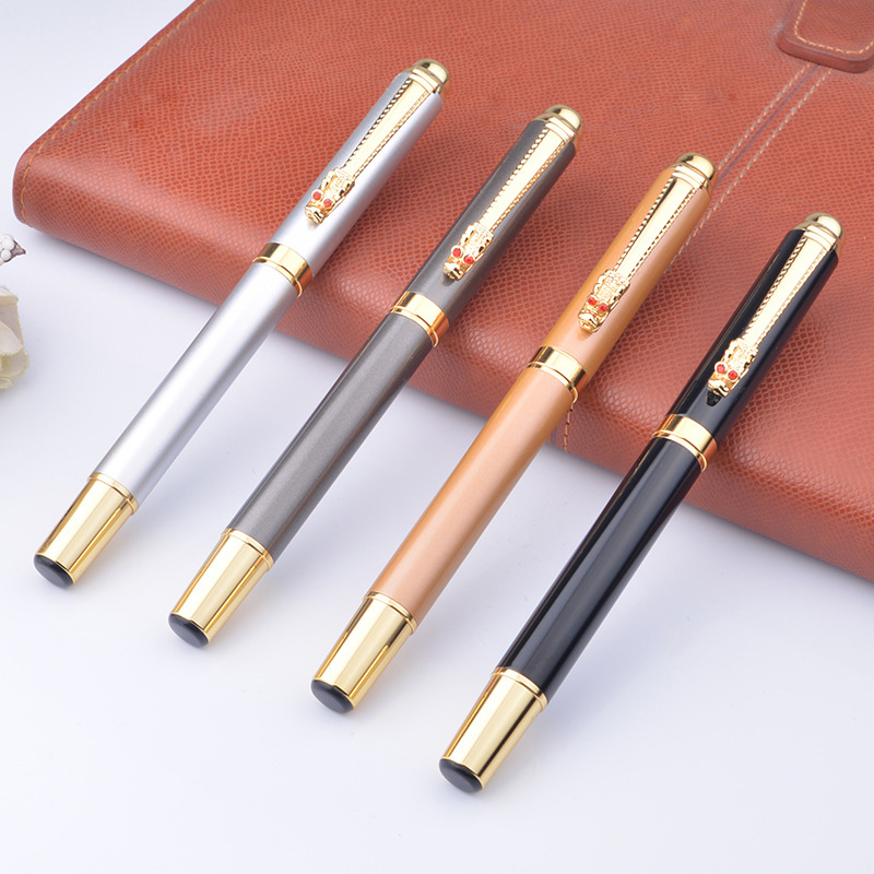 1 Pcs Noble Gold Dragon Rollerball Pen Luxury Metal Ballpoint Pens with 0.5 Mm Black Refill Office Stationery Gift Pen